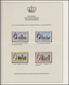 Montserrat Jubiläum Elizabeth II. Portrait & Kathedralen, 4 Marken **