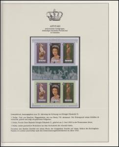 Aitutaki Jubiläum Elizabeth II. Portrait & Holzstatue, Block mit Zierfeld **