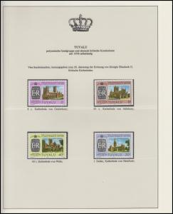 Tuvalu Jubiläum Elizabeth II. Britische Kathedralen, 4 Marken **