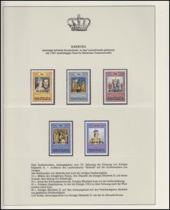 Barbuda Jubiläum Elizabeth II. Krönungszeremonie, 5 Marken mit Aufdruck **