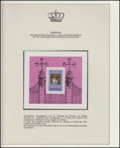 Barbuda Jubiläum Elizabeth II. Krönung & Prinz Philipp, Block mit Aufdruck **