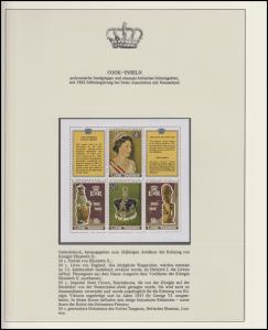 Cook-Inseln Jubiläum Elizabeth II. Portraits & Krönunginsignien, 3 Blöcke **