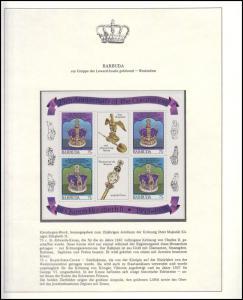Barbuda Jubiläum Elizabeth II. Krone & Krönungsinsignien, 3 Blöcke **