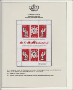 Salomon-Inseln Jubiläum Elizabeth II. Portrait & Drache & Adler, Block **