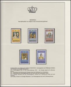 Redonda Jubiläum Elizabeth II. Krönungszeremonie, 5 Marken mit Aufdruck **