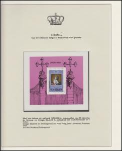 Redonda Jubiläum Elizabeth II. Krönung & Prinz Philipp, Block mit Aufdruck **