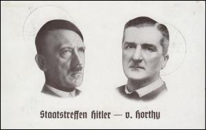 Ansichtskarte Staatstreffen Hitler und Horthy, zwei SSt NÜRNBERG 27.8./5.9.1938