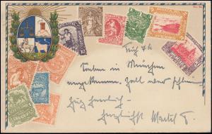 AK Briefmarken von Uruguay, EF Hindenburg 519X MÜNCHEN 2 - 5.8.37 nach Italien