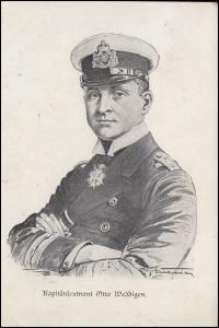 Ansichtskarte Kaptänleutnant Otto Weddigen, Feldpost WESTERSTEDE 14.12.1916