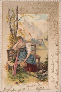 Präge-Ansichtskarte Verlassen, verlassen bin I, NEUWERK / RHEINLAND 29.3.1902