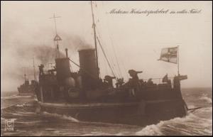 AK Modernes Hochseetorpedoboot in voller Fahrt, KIEL 1.10.1914 nach Berlin