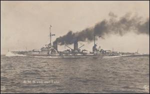 DEUTSCHE MARINE-SCHIFFSPOST No 38 - 10.1.1918 SMS von der Tann auf passender AK