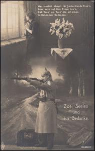 Propaganda-Ansichtskarte Zwei Seelen und ein Gedanke, Feldpost GONSENHEIM 4.2.16