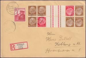 Hindenburg-Zusammendruck 2mal KZ 31 im 12er-Block R-Brief SCHÖNBACH/EGER 23.8.39