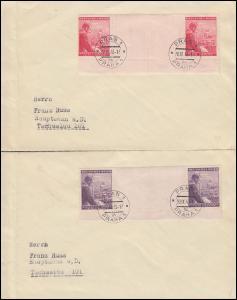 Böhmen und Mähren 126-127ZW Geburtstag Zwischenstegpaare: 2 Briefe PRAG 30.9.43