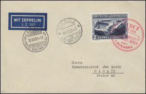 Zeppelinpost LZ 127 Vaduz-Fahrt 10.6.31, Abwurf Lausanne, Zeppelin-Etikett