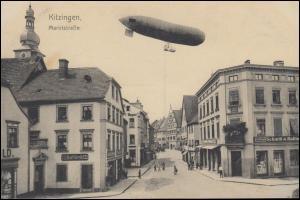 Ansichtskarte Zeppelin über der Marktstraße in Kitzingen, ungebraucht