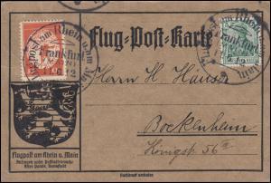 Flugpost Rhein-Main Frankfurt 11.6.1912 - 10 Pf mit ZF Flug-Post-Karte mit Text