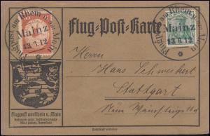 Flugpost Rhein-Main Mainz 13.6.1912 - 10 Pf mit ZF Flug-Post-Karte mit Text