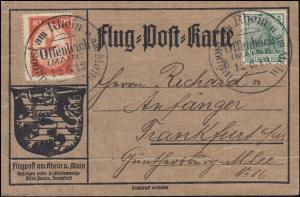 Flugpost Rhein-Main Offenbach 12.6.1912 - 10 Pf mit ZF Flug-Post-Karte mit Text