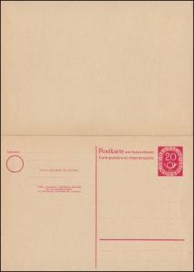 Postkarte P 15 Posthorn 20/20 Pf ohne Druckvermerk, ungebraucht