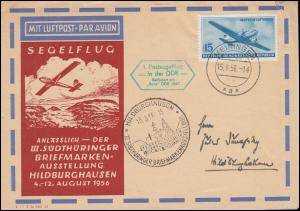 1. Postsegelflug in der DDR mit BABY DDR 1509, Schmuck-Brief MEININGEN 15.8.56