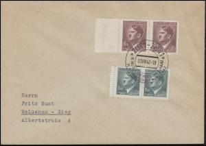 98-105 Freimarken 1,60 K + 6 K Rand-Paare Brief SSt ZLIN 31.8.42 nach Weidenau