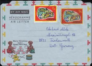 Ghana Aerogramm LF 7 Chameleon passende Zusatzfr. Chamäleon von TAMALE um 1977