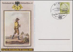 Elsaß P 3 Tag der Briefmarke Wiener Klapperpost, SSt KIEL T.d.B. U-Boot 12.1.41