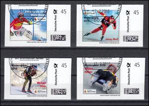 Sporthilfe-Marken selbstklebend Winterspiele 2010, 4 Werte, SSt Frankurt 12.2.10
