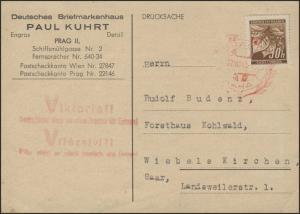 Böhmen und Mähren 64 Freimarke EF Drucksache SSt Prag