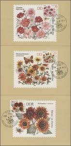 2737-42 Herbstblumen 1982 - Satz auf Wermsdorf-Maximumkarten