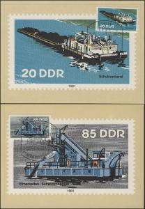 2651-56 Binnenschiffe 1981 - Satz auf Wermsdorf-Maximumkarten
