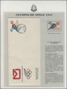 Neuseeland 1992: Leichtathletik & Sprint-Wettbewerbe, 1 Marke und 1 Schmuck-FDC