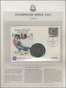 Deutschland 1992: Deutsche Sporthilfe Numisbrief Ski alpin ESSt Bonn