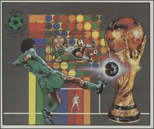 Fußball Libyen: SPANIEN'82 - Fallrückzieher, 1 Block mit rückseitigem Zudruck **