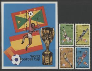 Fußball Grenada: SPANIEN'82 Torwartszenen & Torwartparaden, 4 Marken+ 1 Block **