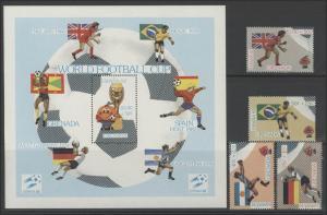 Fußball Grenada: SPANIEN'82 Spieler mit Flaggen, 4 Marken und 1 Block **
