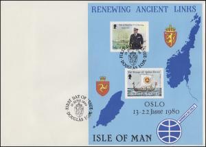 Insel Man Besuch von König Olav V. von Norwegen 1980, Block auf FDC