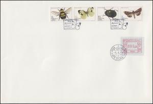 Portugal Azoren: Insekten - Schmetterling & Käfer, Zusammendruck mit ATM auf FDC
