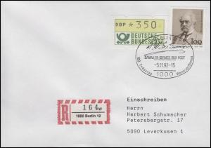 1642 Siemens, MiF R-FDC ESSt Berlin 100. Todestag & Unterschrift 5.11.92