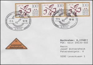 1612 Adam Riese Rechenmeister, MeF NN-FDC ESSt Sindelfingen Messe-Symbol 7.5.92