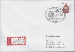 1623 SWK Neubrandenburg, EF Brief SSt Hamburg COSPAR & Mondlandung 20.7.94