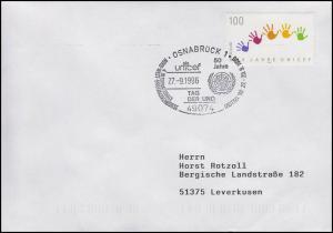 1869 UNO-Kinderhilfswerk UNICEF, EF Brief SSt Osnabrück Tag der UNO 27.9.1996