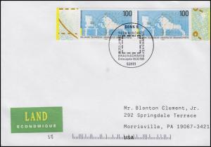 1783 Uni Carolo-Wilhelmina Braunschweig, MeF FDC ESSt Bonn 9.3.1995 in die USA