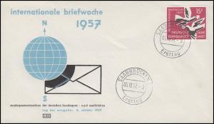 408 Briefwoche & Tauben & Globus 1958, Schmuck-FDC Saarbrücken Ersttag 5.10.57