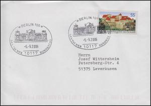 2548 Burganlage Burghausen, EF Brief SSt Berlin Deutscher Bundestag 5.9.2006