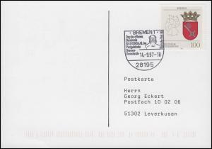 1590 Bremen, Karte SSt Bremen Denkmal Kaisersaal Postgebäude Domsheide 14.9.1997