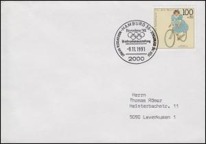 1500 Radfahren, EF Bf SSt Hamburg wirbt für Olymiade in Barcelona 9.11.1991