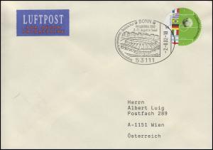 2258 Fußballweltmeister als runde Marke EF Brief SSt Bonn PHILAKOREA 2.8.2002
